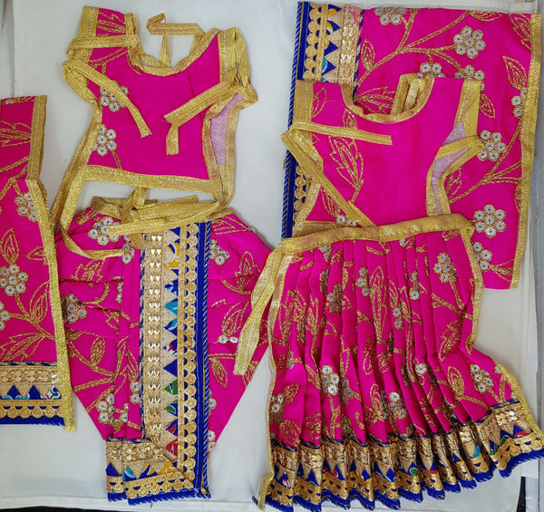 "7"" Radha Krishna outfit Set in Pink with gold thread flower work and navy blue boarder"