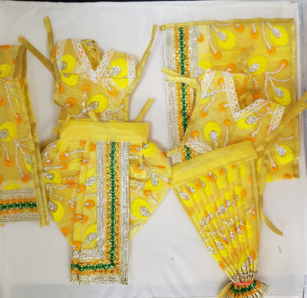"7"" Radha Krishna outfit Set in Yellow net material"