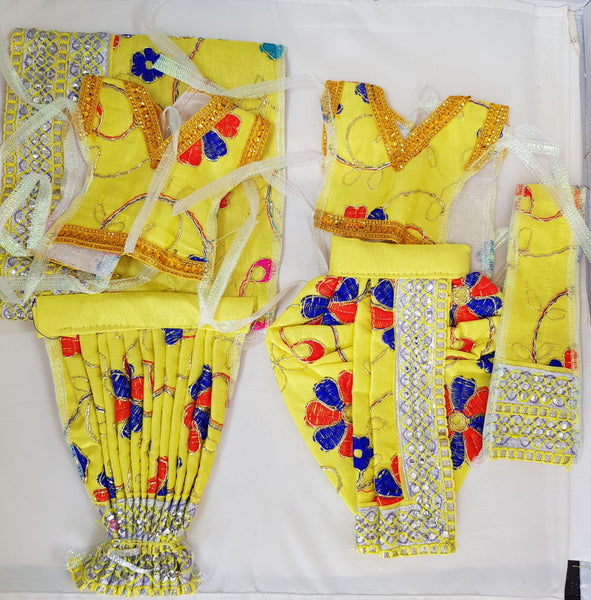 "7"" Radha Krishna outfit Set in Yellow with Red & Bue flower Pattern"