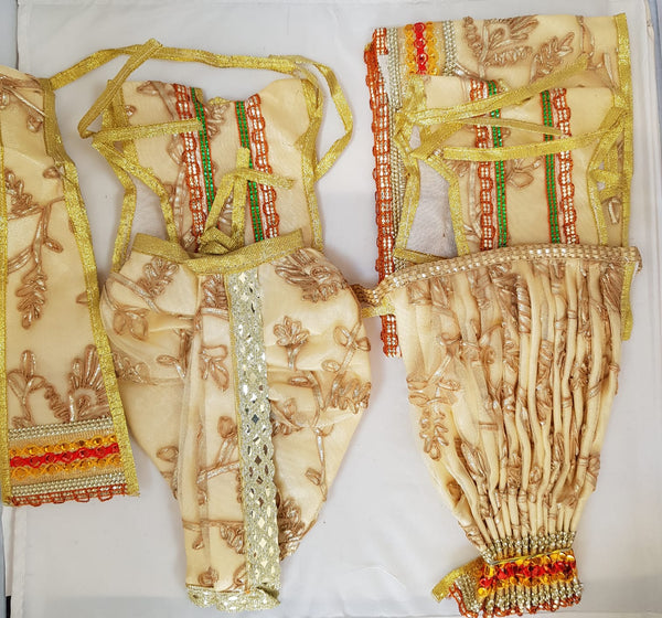 "7"" Radha Krishna outfit Set in Cream with gold thread-work"