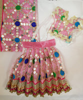 "7"" Durga Maa Dress in Baby Pink with sequin work"