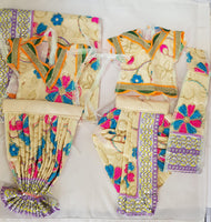 "7"" Radha Krishna outfit Set in Cream with Pink and Blue flower Pattern"