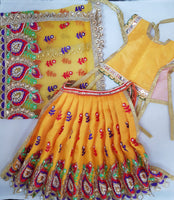 "7"" Durga Maa Dress in Yellow with Mirror and thread work"