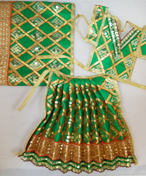 "7"" Durga Maa Dress in Green with Gold check Gotta work"