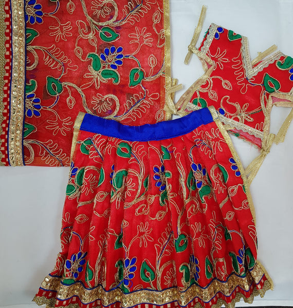 "9"" Durga Maa Dress in Red with Blue & Green Petal Design with Net Chunari"