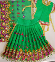 "9"" Durga Maa Dress in Green with Mirror and thread work"