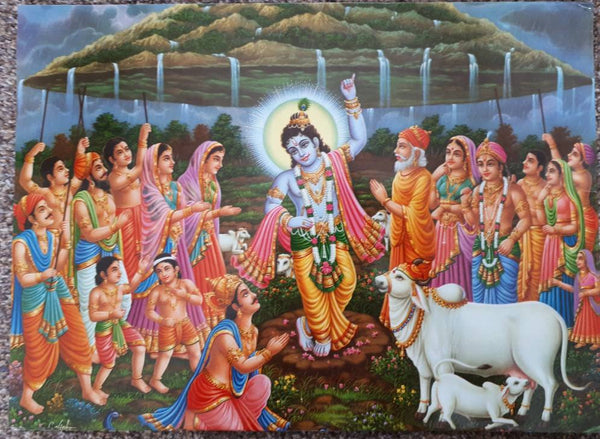 16.5'x12' print of hindu god krishna lifting govardhan parvat by jothi press