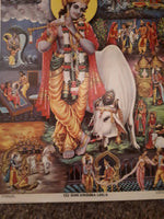 Brijbasi press print of krishna leela - depicting the main stories of krishnas life