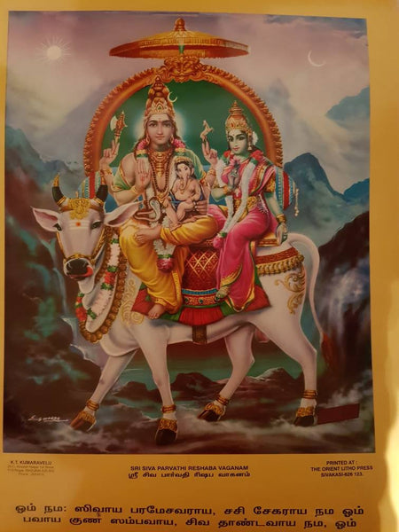 South Indian Large print of shiva, parvathi and vinayak 15inch x 20inch