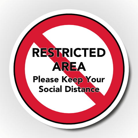 Set of 4 Social Distancing Floor Stickers - Restricted Area