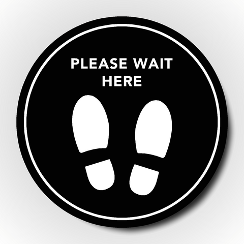 Set of 4 Social Distancing Floor Sticker - Please wait here
