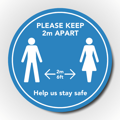 Set of 4 Social Distancing Floor Sticker - Please keep 2m / 6ft apart