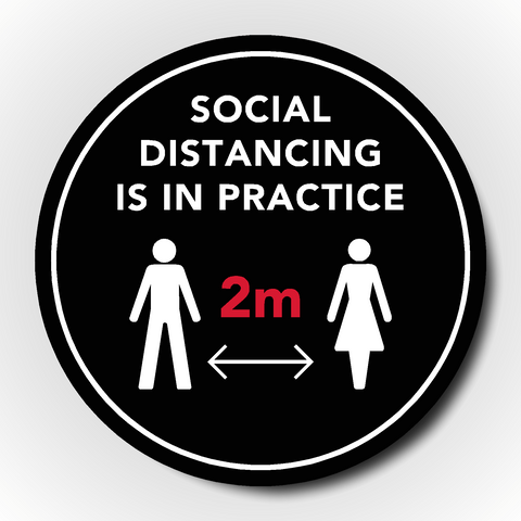 Set of 4 Social Distancing Floor Sticker - Social distancing is in practice