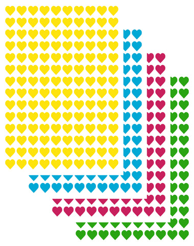 Heart Stickers (1xA4 sheet of 140 hearts) Various Colours (home & school use)