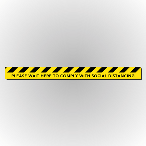 Set of 2 Social Distancing Floor Strip Sticker - Please wait here to comply with social distancing