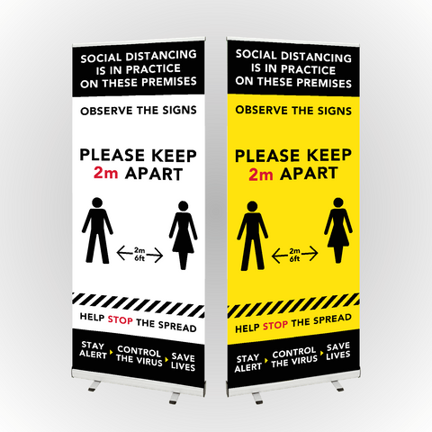 Social Distancing Roller Banner 800mm wide