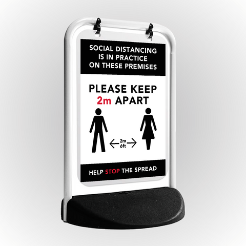 Social Distancing Pavement Swing Sign