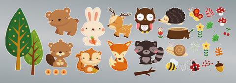 Woodland Animals printed stickers / decals
