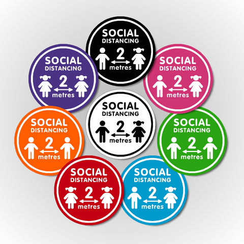 Set of 4 Mixed School - Children's Social Distancing Floor Sticker 300mm - 2 Metres Apart