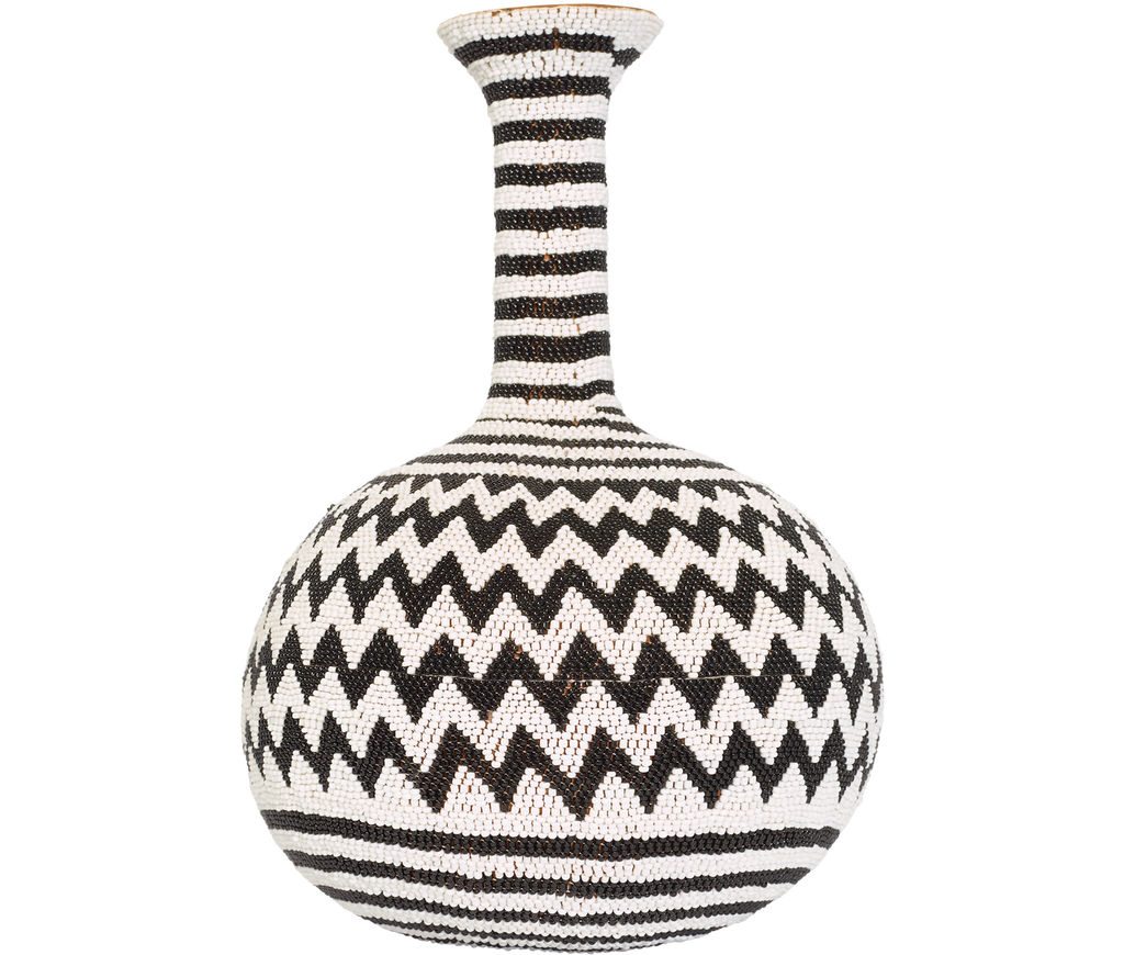 Home Decor Black and White ZigZag Beaded Calabash