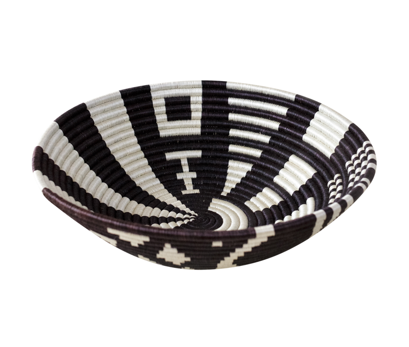 Home Decor Black and White Woven Bowl
