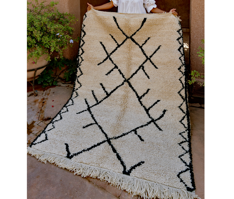 Home Decor Monochrome Symbols Moroccan Rug