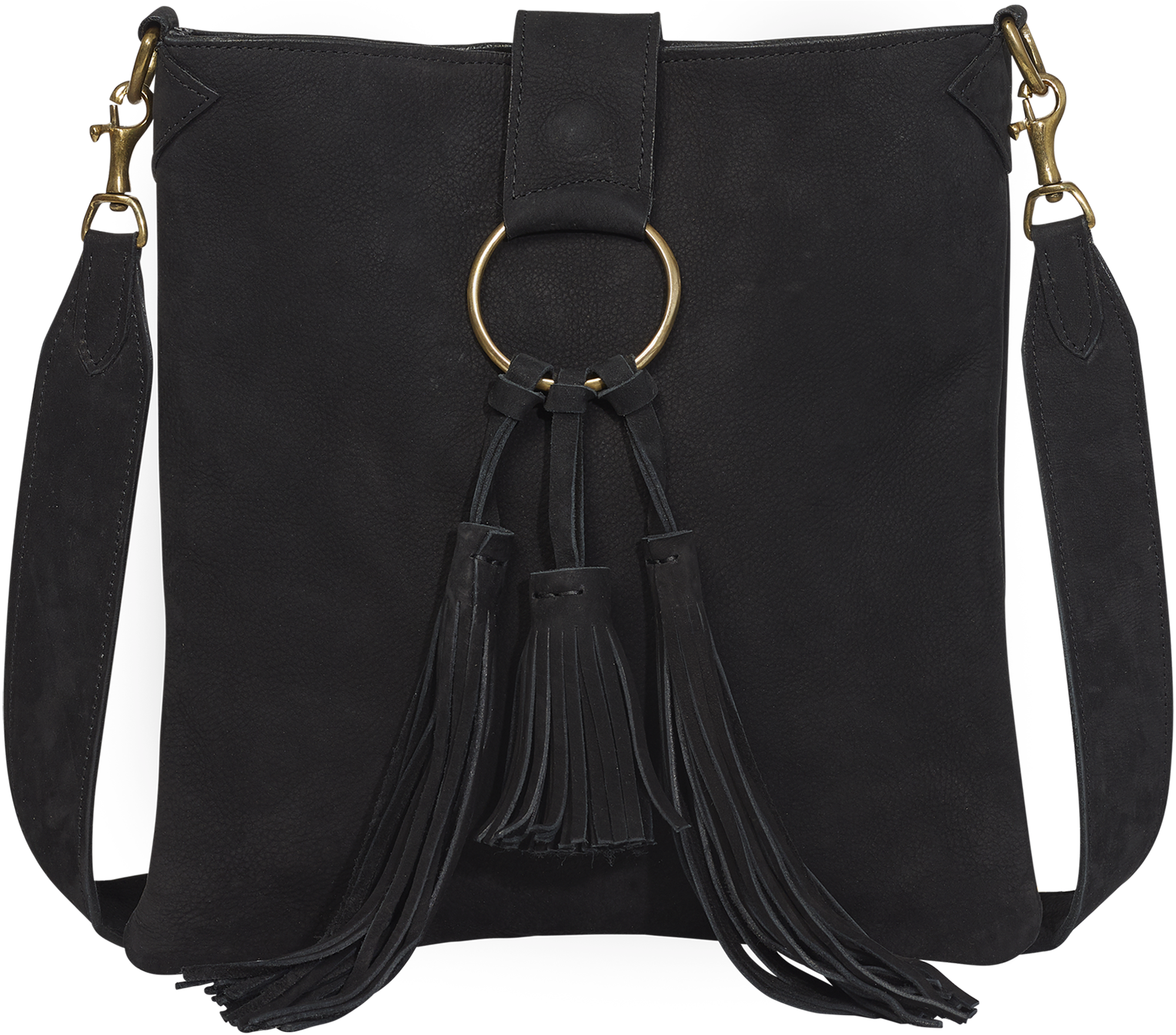 Handbag Black Suede Crossbody Bag