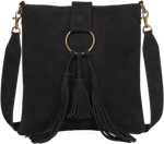 Load image into Gallery viewer, Handbag Black Suede Crossbody Bag