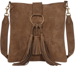 Load image into Gallery viewer, Handbag Caramel Suede Crossbody Bag