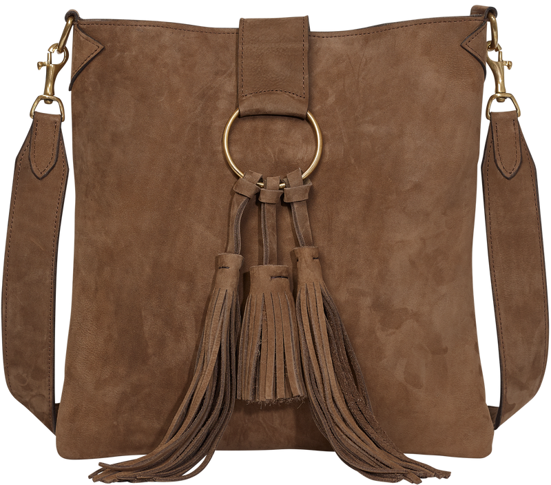 Handbag Caramel Suede Crossbody Bag