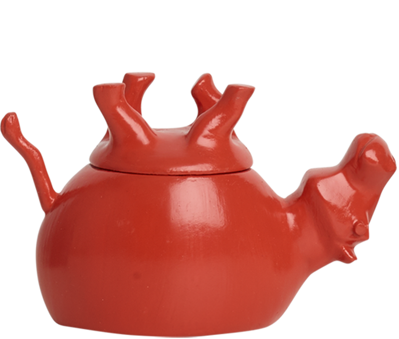 Home Decor Coral Gloss Upside Down Hippo Jar