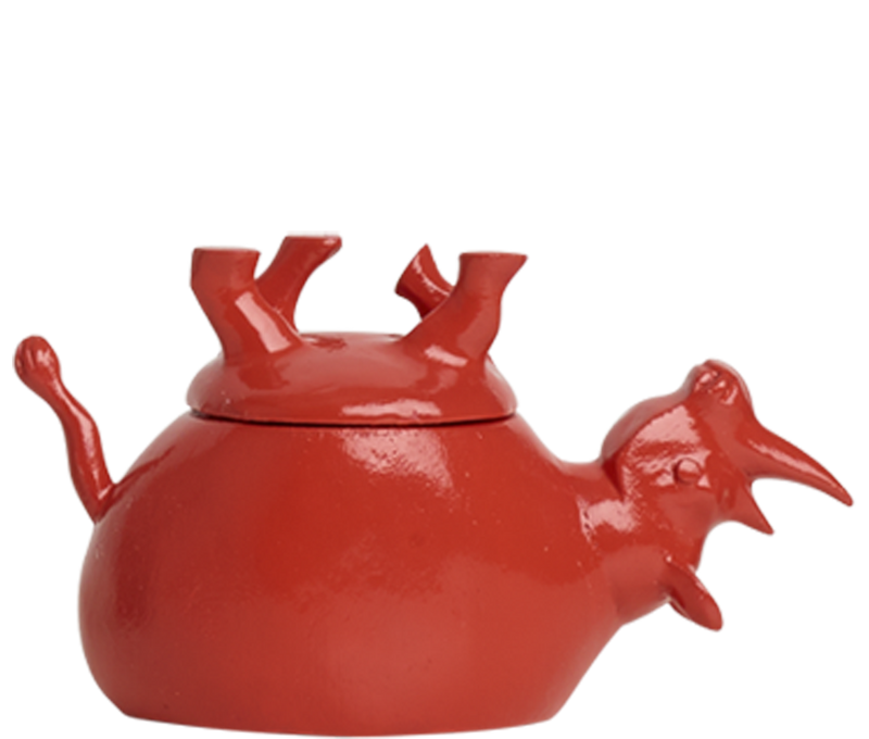 Home Decor Coral Gloss Upside Down Rhino Jar