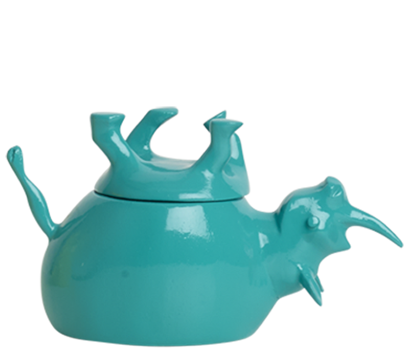 Home Decor Teal Gloss Upside Down Rhino Jar