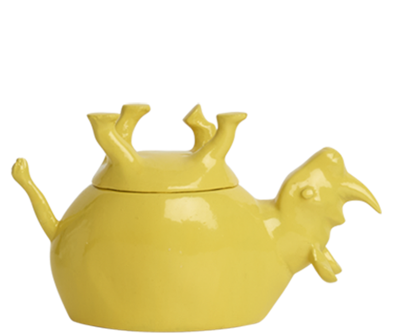 Home Decor Yellow Gloss Upside Down Rhino Jar