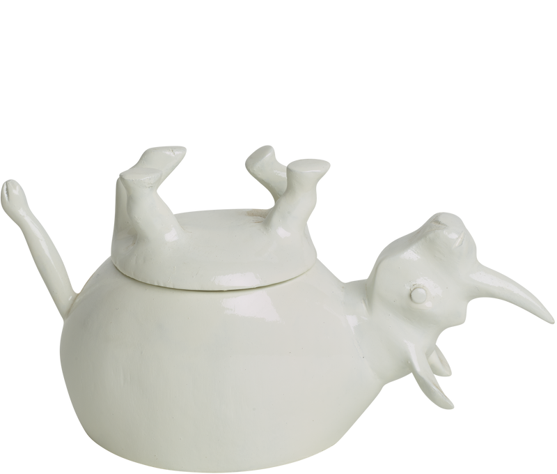Home Decor White Gloss Upside Down Rhino Jar