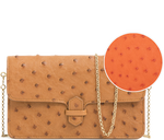 Load image into Gallery viewer, Handbag Tangerine Ostrich Semi Quill Wallet Crossbody Bag