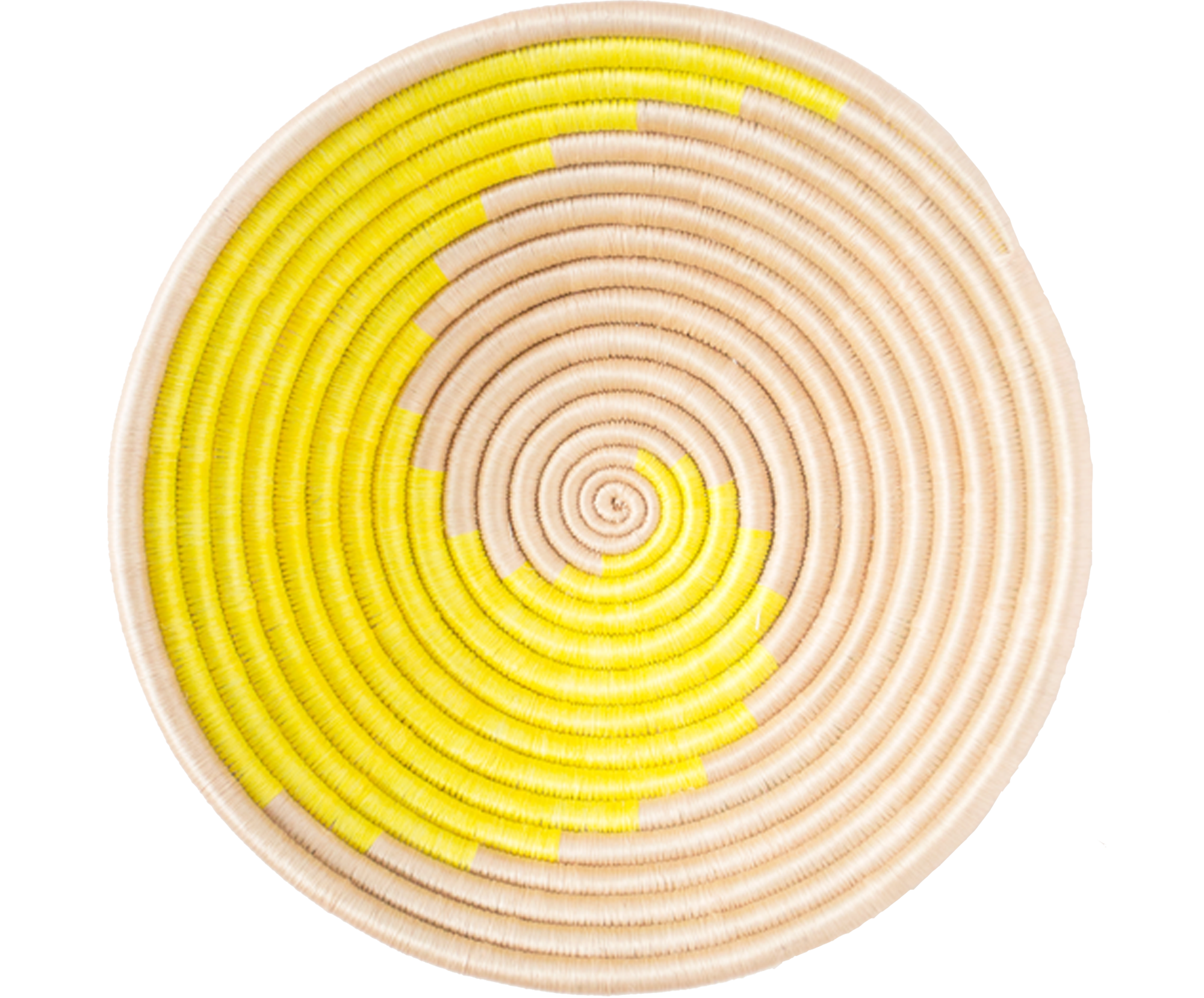 Home Decor Yellow Swirl Woven Bowl