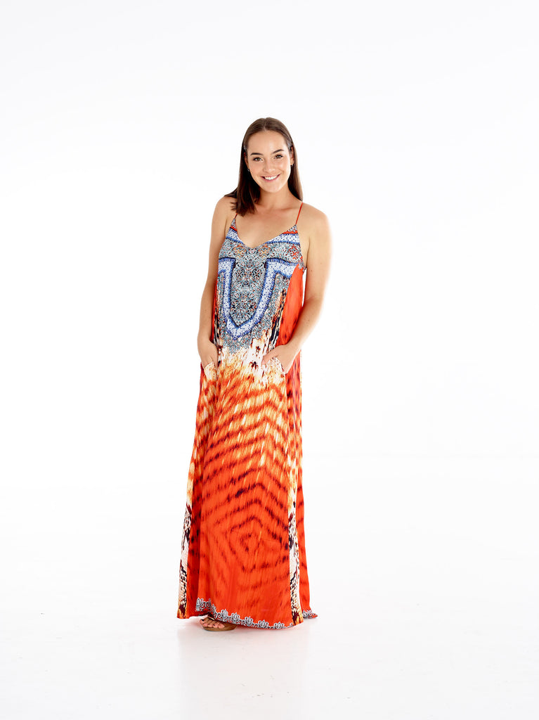 Orange Coral Python T-Back Dress