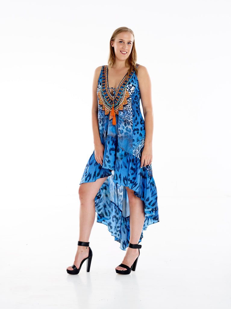 Blue Twist Cheetah High Low Frill Dress