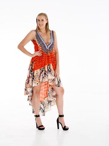Orange Coral High Low Frill Dress