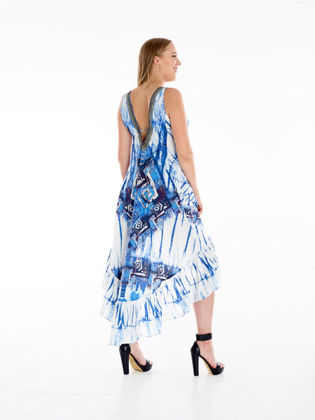 Bandini Tye Dye High Low Frill Dress