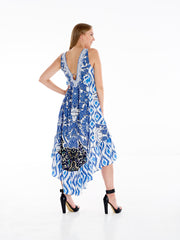 Denim IKat High Low Frill Dress