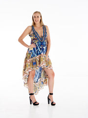 Cavalli Snake High Low Frill Dress