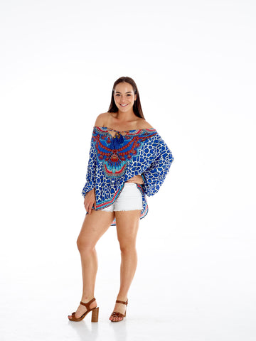 Navy Giraffe Gypsy Top