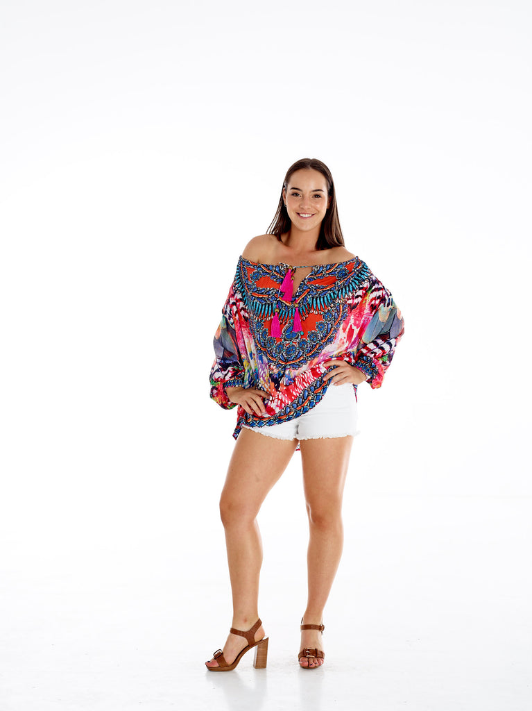 Pink Feather Gypsy Top