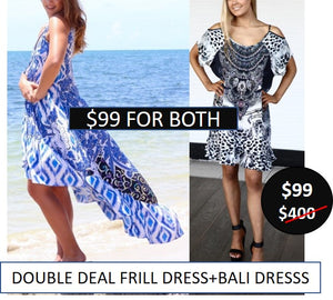 #8 Denim Ikat Frill Dress + Cleo Bali Dress - $99