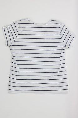 Ladies SS Tee Large Navy Stripes