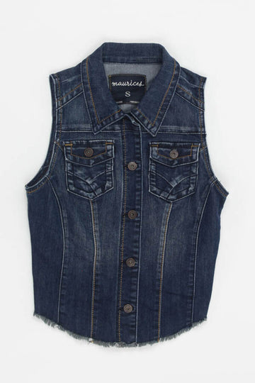 Ladies Jean Jacket Small Sleeveless