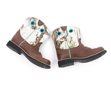 Ladies Boots 5 Cowgirl White Forest Camo