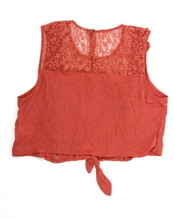 Ladies Top Large Crop Top w/Lace